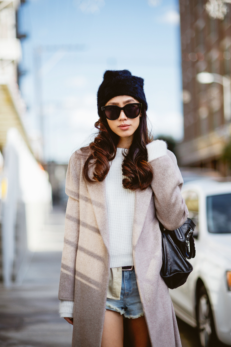 Neon Blush, Zara wool coat, robe coat, mink colored coat, angora sweater, angora beanie, black beanie, Acne Pistol boots, Balenciaga Classic City bag, A&F denim shorts, Céline Audrey sunglasses
