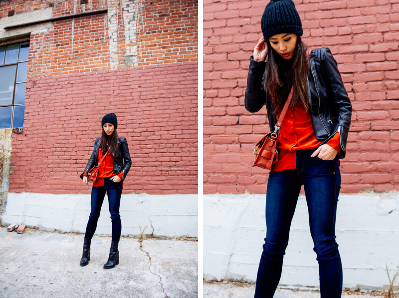 Neon Blush, Equipment blouse, burnt red shirt, burnt persimmon, pom beanie, Genetic Denim skinny, Theyskens' Theory boots, Proenza Schouler PS11 mini saddle