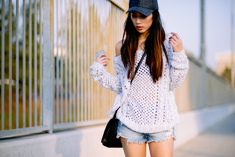 Neon Blush, Abercrombie & Fitch knit sweater, denim shorts, H&M wool cap, Hare + Hart bag, Balenciaga cut out boots, casual LA style, style blogger
