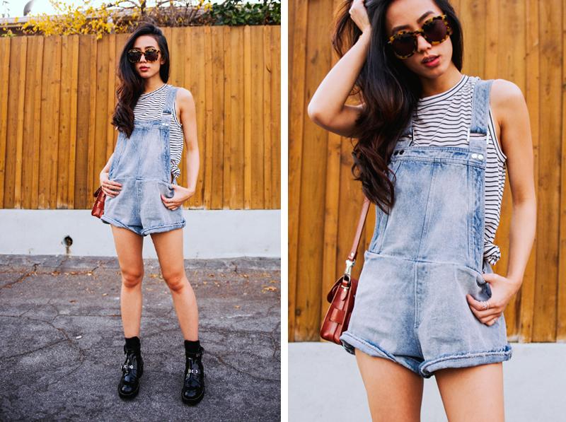 Neon Blush, Finders Keepers the Label short overall, Balenciaga cutout boots, Karen Walker sunglasses, Proenza Schouler PS11 mini