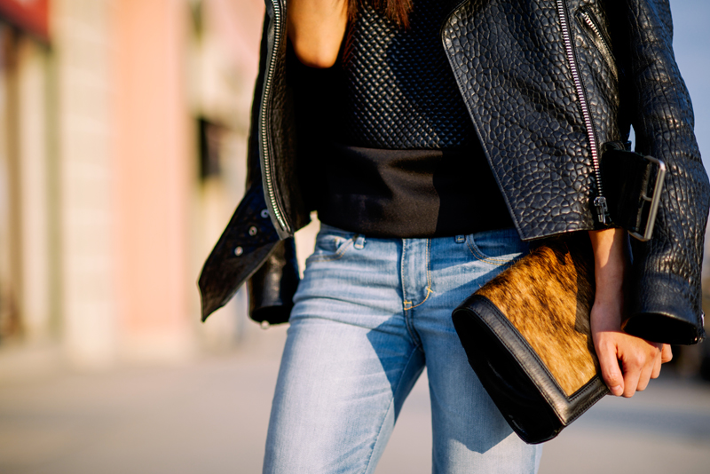 Neon Blush, Abercrombie denim, denim style, Los Angeles blogger, skinny boyfriend jeans, Acne leather Mape jacket, Cameo black top, leopard pumps, Coye Nokes shoes, Hare + Hunter leather bag