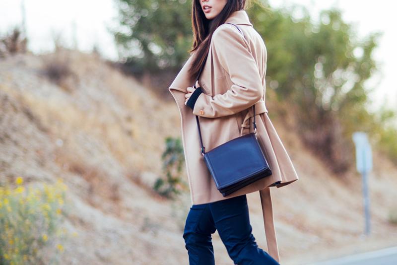 Neon Blush, Ted Baker, Street Winker, camel coat, Theyskens Theory trousers, Zara crop tops, Alexander Wang heels