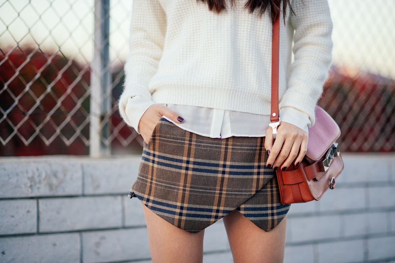 Neon Blush, Zara angora sweater, Zara checkered skirt, ShoeMint boots, Celine Audrey sunglasses, Proenza Schouler PS11 mini