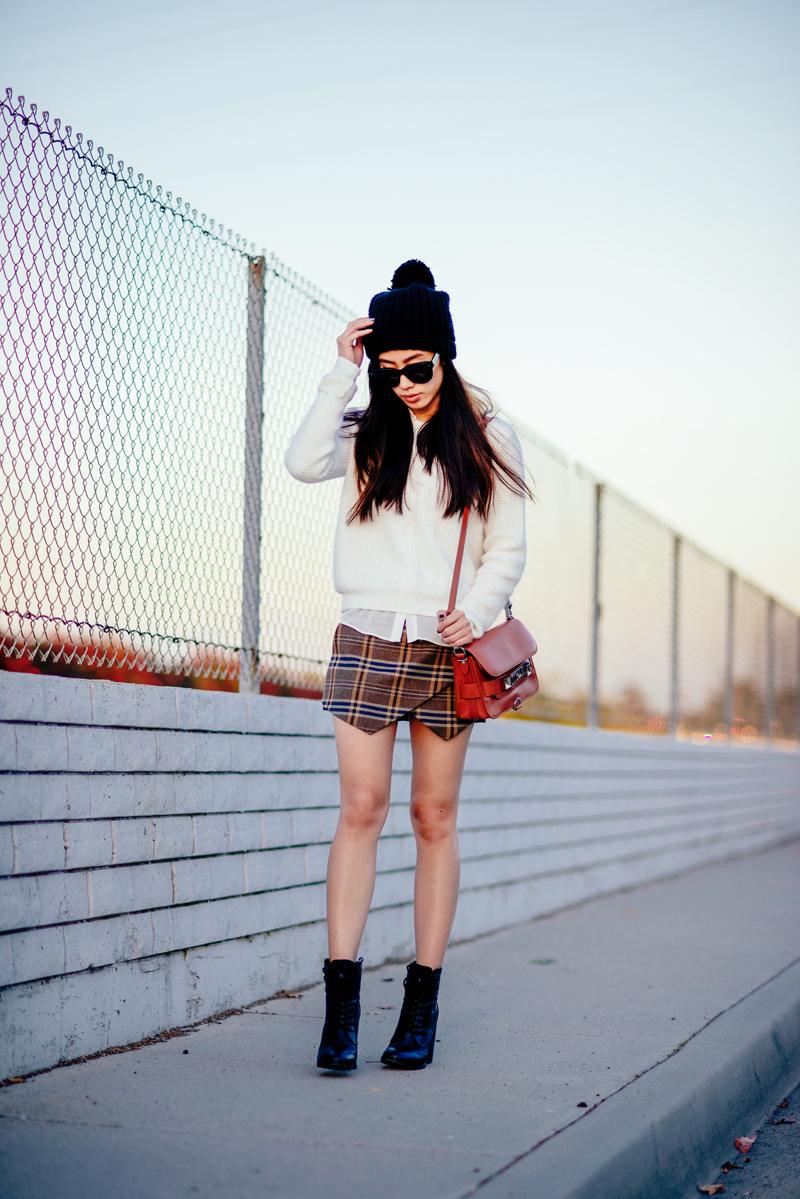Neon Blush, Zara angora sweater, Zara checkered skirt, ShoeMint boots, Celine Audrey sunglasses, Proenza Schouler PS11 mini