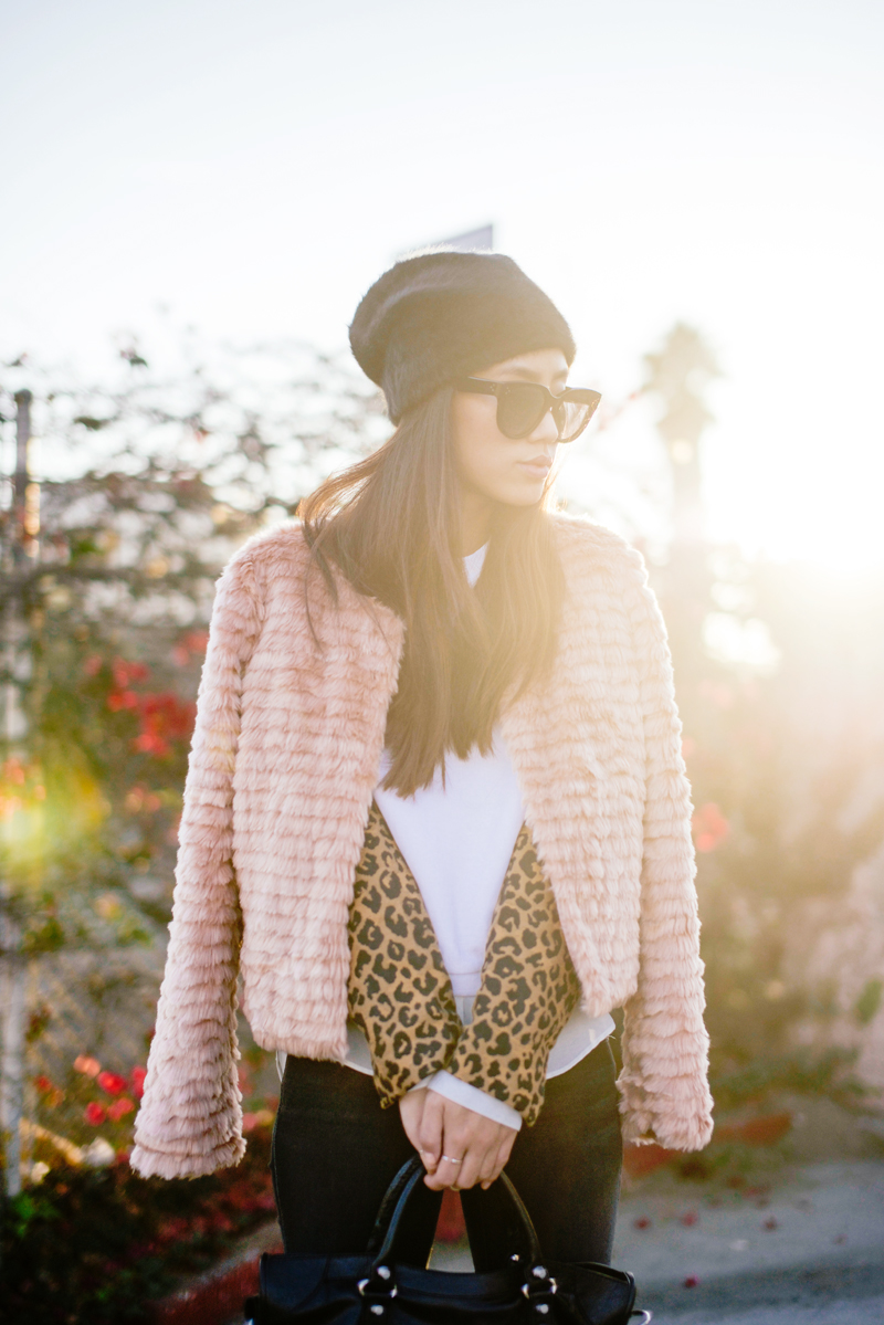 Neon Blush, For Love & Lemons, ASOS beanie, angora beanie, 3.1 Phillip Lim cheetah print sweater, fuzzy pink coat, For Love & Lemons pink coat