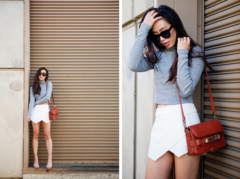 Neon Blush, Zara top and skirt, LA fashion blog, Proenza Schouler
