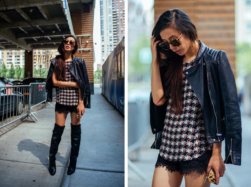 Neon Blush, Rag & Bone, Madison boutique, Madewell lace shorts, NYFW, H&M thigh high boots, leather jacket Zara