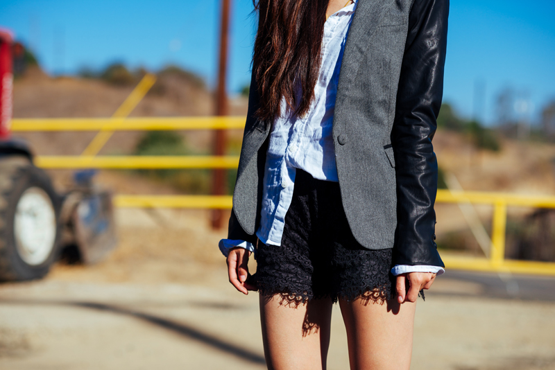 Neon Blush, ArticleAnd blazer, Civilianaire linen shirt, Madewell lace shorts, Rag & Bone Newbury suede boots