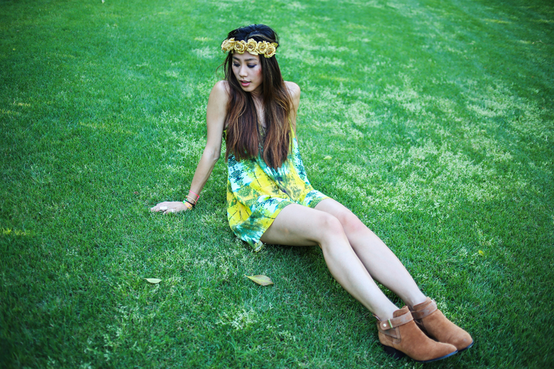Neon Blush, Cynthia Vincent dress and boots, La Luna Flower Crowns, gold flower crown, tie dye dress, summer mini dresses, Palm Springs Parker hotel, Harpers Bazaar Coachella party