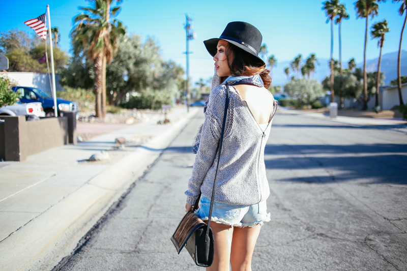 Neon Blush, Cynthia Vincent, CV Chella, Coachella festival fashion, Rag & Bone fedora hat, Abercrombie & Fitch denim shorts