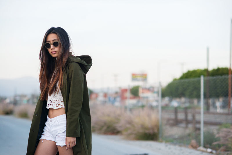 Neon Blush, APC parka, army green outerwear, The Dreslyn, Heartloom lace crop top, 7 For All Mankind destructed white denim shorts, suede Birkenstocks, ShopSuperStreet, Sun Buddies sunglasses