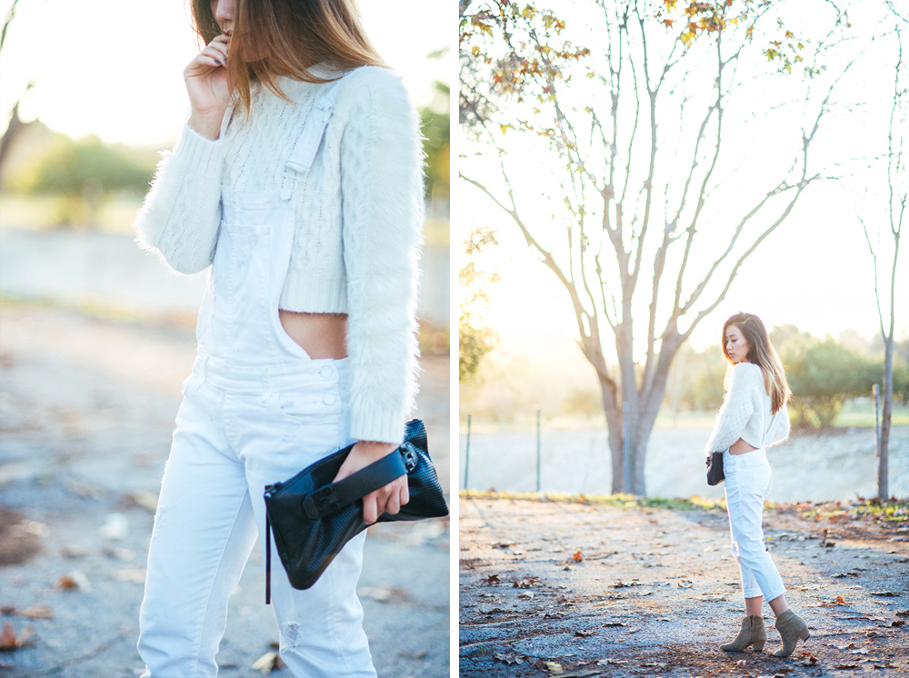 Neon Blush, Three Floor fuzzy sweater, Paige Denim overalls, Isabel Marant Dicker boots, She+Lo leather clutch, Loren Stewart ring, winter whites style