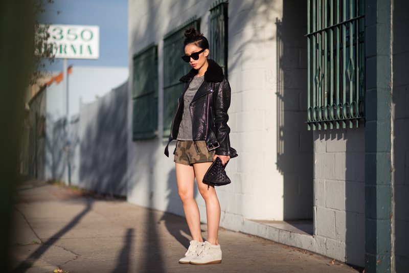 Neon Blush, Rag & Bone suede camo shorts, The Dreslyn shorts, Acne mape jacket, StyleStalker tee tshirt, Isabel Marant sneakers, wedge sneaker, Yosi Samra clutch