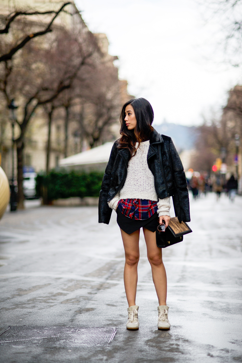 Neon Blush, plaid and skort, black faux fur jacket, Bebe outerwear, Zara skort, Isabel Marant sneakers, Hare + Hart bag, Céline sunglasses