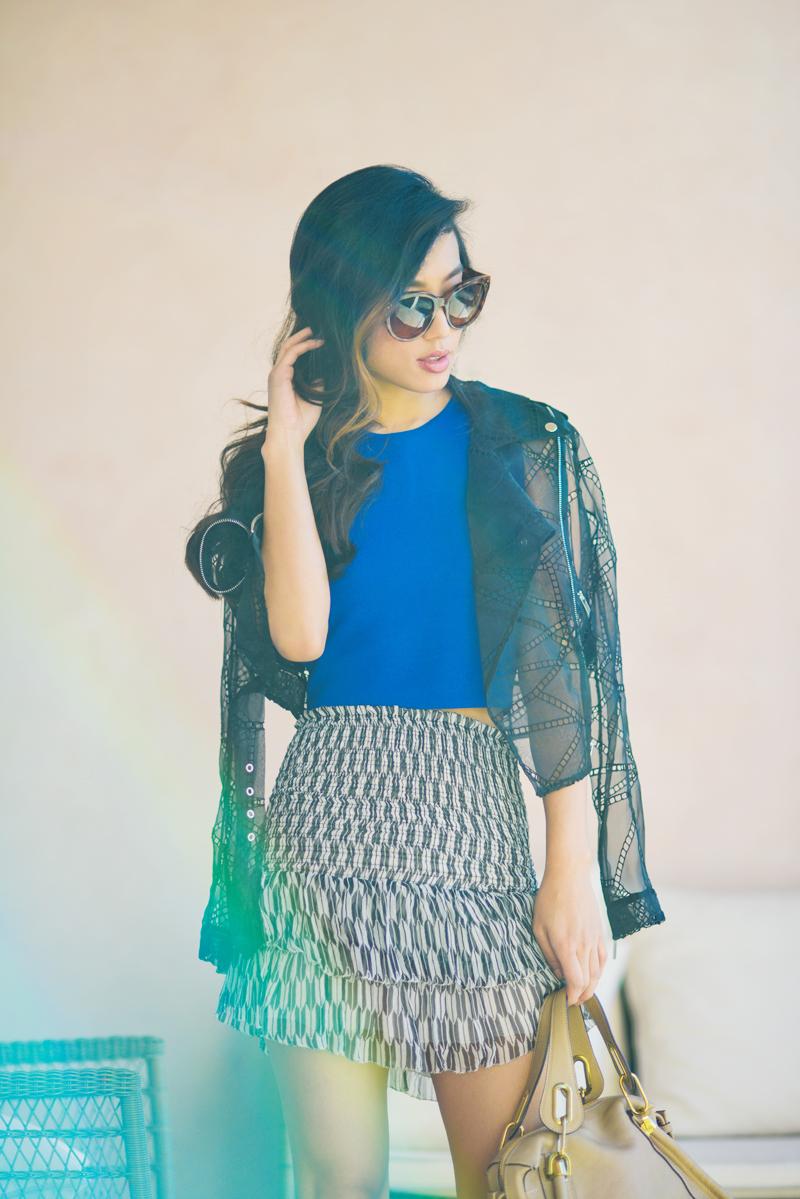 Neon Blush, Luisaviaroma, Isabel Marant skirt, Chloe Paraty bag, Manolo Blahnik suede pumps, Christopher Kane silk biker jacket, spring summer fashion, Céline Audrey sunglasses