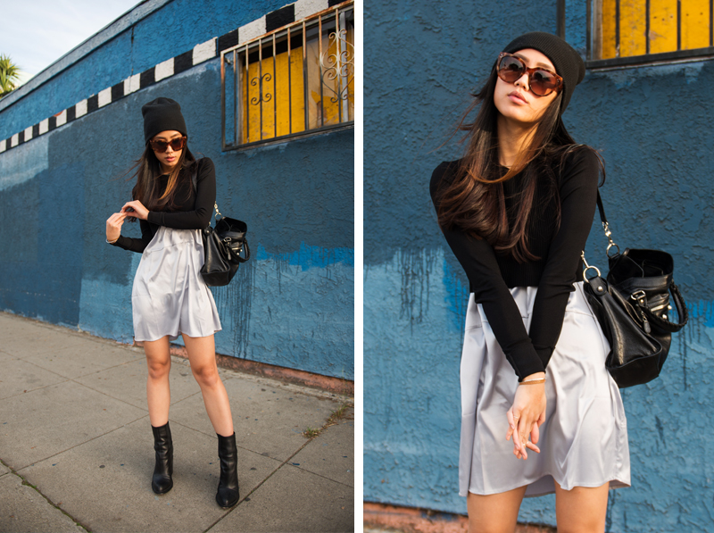 Neon Blush, 90s grunge style, beanie style, Zara crop top, black crop top, For Love & Lemons dress, icy blue dress, Theyskens' Theory boots, Balenciaga Classic City bag, Céline Audrey sunglasses