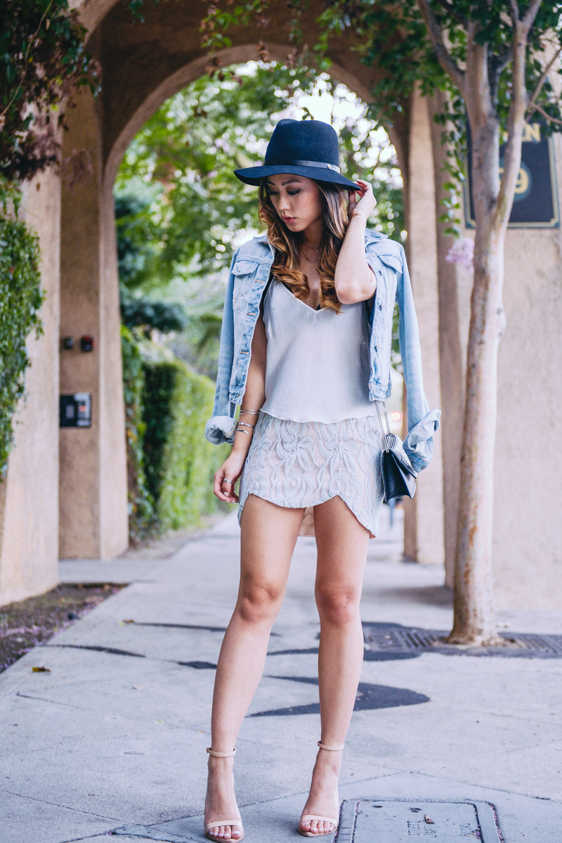Neon Blush, StyleSaint, silk and lace, denim jackets, Rag & Bone hat, fedora hat, Zara heels, Saint Laurent bag, GASMY.it bag
