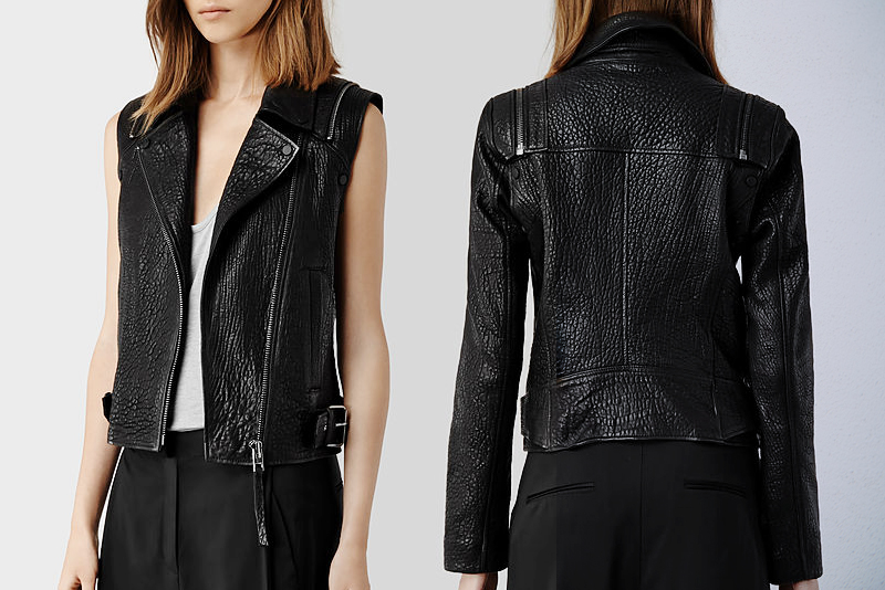Neon Blush, leather moto jackets, leather moto vest, convertible leather jacket, AllSaints, All Saints leather