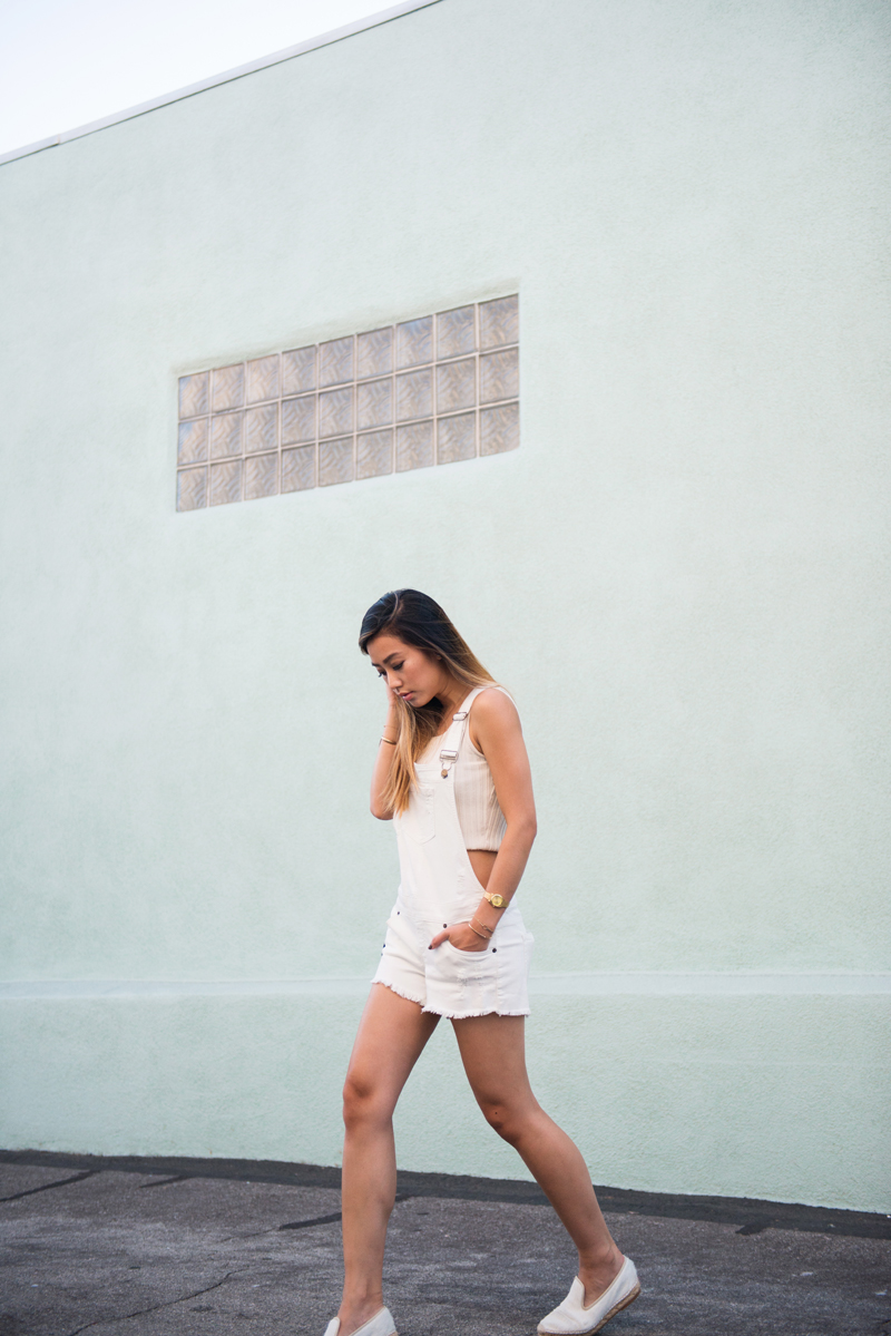 Neon Blush, Nixon Small Time Teller watch, gold watch with neon, summer jewelry stacking, white denim overalls, GUESS denim overalls, Elyse Walker espadrilles in white, crop top 90s