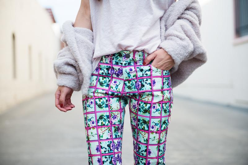 Neon Blush, Mary Katrantzou for Lyst, Mary Katrantzou spring denim, floral denim, floral pants, H&M, H&M alpaca bomber, ShoeDazzle cage heels, Céline Audrey sunglasses