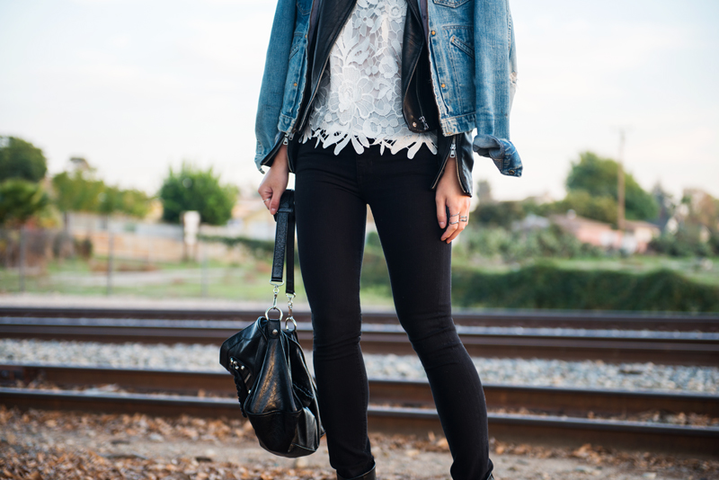 Neon Blush, H&M denim, H&M spring denim, Zara leather jacket, Wrangler denim jacket, Cameo the Label lace top