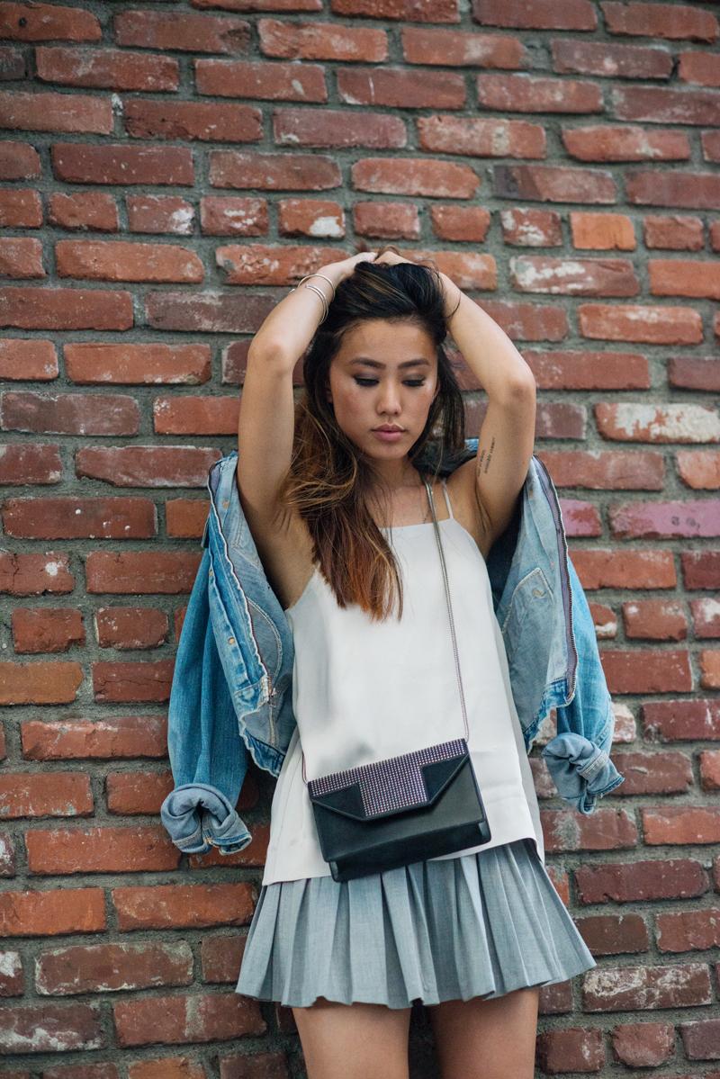 Neon Blush, Saint Laurent mini bag, H&M top, Zara pleated skirt, Wrangler denim jacket