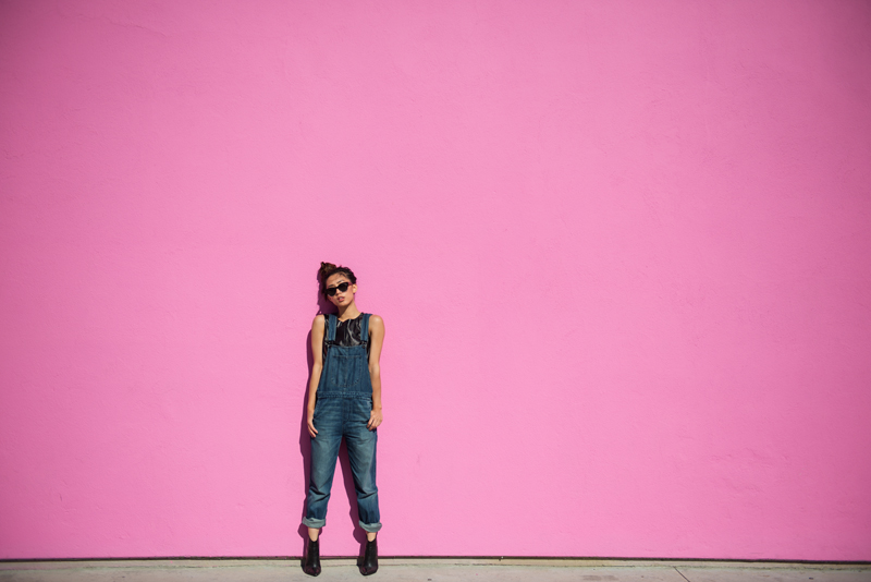 Neon Blush, Jaggar the Label crop leather top, Black Orchid denim overalls, SALT Optics sunglasses, ShoeMint booties, pink wall in LA, fashion blogger