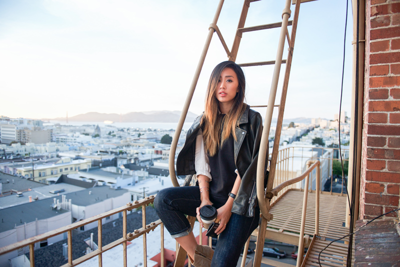 Neon Blush, Jenny Ong style blog, Kate Spade Saturday, crewneck zipper sweatshirt, button down panel shirt, kick-it jean, Isabel Marant Dicker boots, leather moto jacket, San Francisco fire escape, monogram card wallet