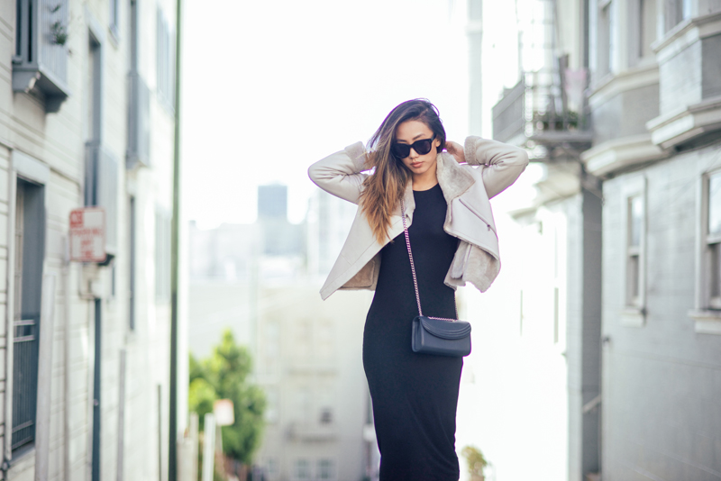 Neon Blush, San Francisco streets, Los Angeles style blogger, Jenny Ong, minimalistic style, H&M midi dress, Paule Ka shearling jacket, Adidas Superstars sneakers, Céline Audrey sunglasses, GASMY.it, Lauren Cecchi bag