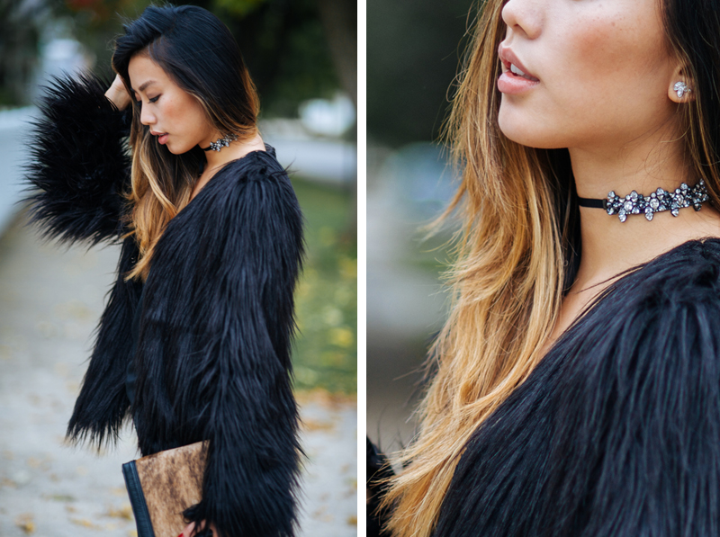 Neon Blush, Jenny Ong style blog, Swarovski blacklight choker, Swarovski jewelry, baroque inspired jewels, Ladakh x Urban Outfitters faux fur jacket, CAMI NYC