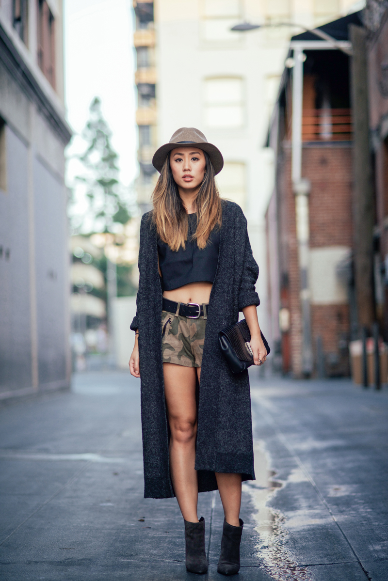 Neon Blush, Jenny Ong, Los Angeles style, personal style blog LA, Sigerson Morrison boots, suede wedge boots, Rag & Bone Enfield clutch, Rag & Bone fedora hat, Rag & Bone suede camo shorts, The Dreslyn, Zara long knit cardigan, Kate Spade Saturday crop top, black croc leather
