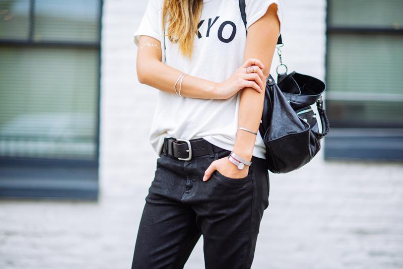 Neon Blush, Movado and Vanity Fair, statement jewelry, wrap bracelet, chrome watch, watch bracelet, Wildfox 'Tokyo' tshirt, Wildfox dropcrotch skinny jeans, 9W InStyle heels
