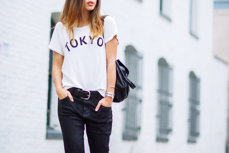 Neon Blush, Movado and Vanity Fair, statement jewelry, wrap bracelet, chrome watch, watch bracelet, Wildfox 'Tokyo' tshirt, Wildfox dropcrotch skinny jeans, 9W InStyle heels