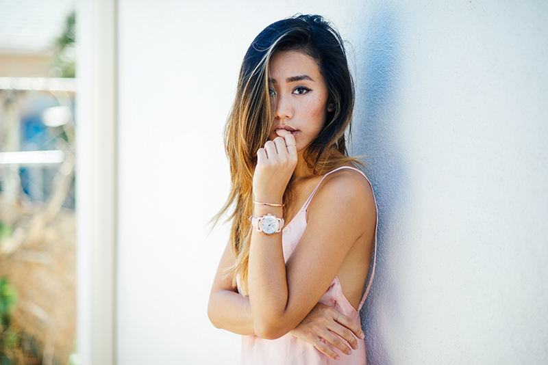 Neon Blush, Jenny Ong, LA style blogger, Coach limited edition watch, Breast Cancer Awareness month, pink for breast cancer, Glamour x Coach, Nasty Gal slip dress, metallic pink dress