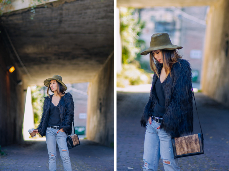 Neon Blush, Ladakh x UO faux fur jacket, Lovely Bird suede hat, J Brand camisole, American Eagle denim, Hart + Hare bag, Zara patent oxfords