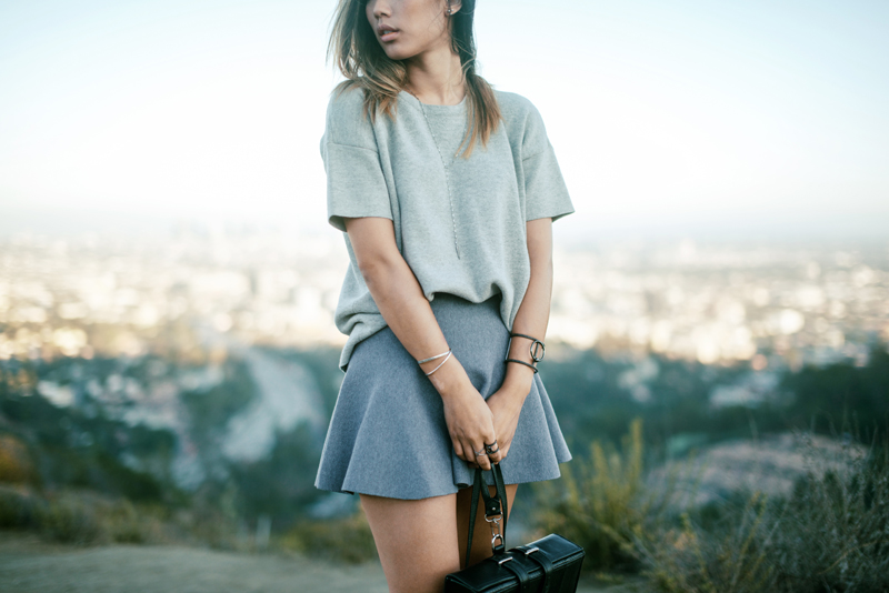 Neon Blush, Mulholland Drive, overlooking Hollywood, Asilio skirt, Madewell woolen tee, Isabel Marant Mendi boots, Palethorp box backpack, Luv AJ jewelry