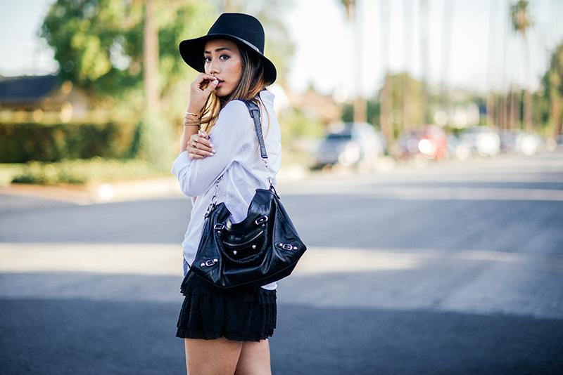 Neon Blush, American Eagle button up, Urban Outfitters tiered skirt, Rag & Bone hat, Isabel Marant Dicker boots, Balenciaga bag, Jennifer Zeuner cuff, Soko wrap bracelet