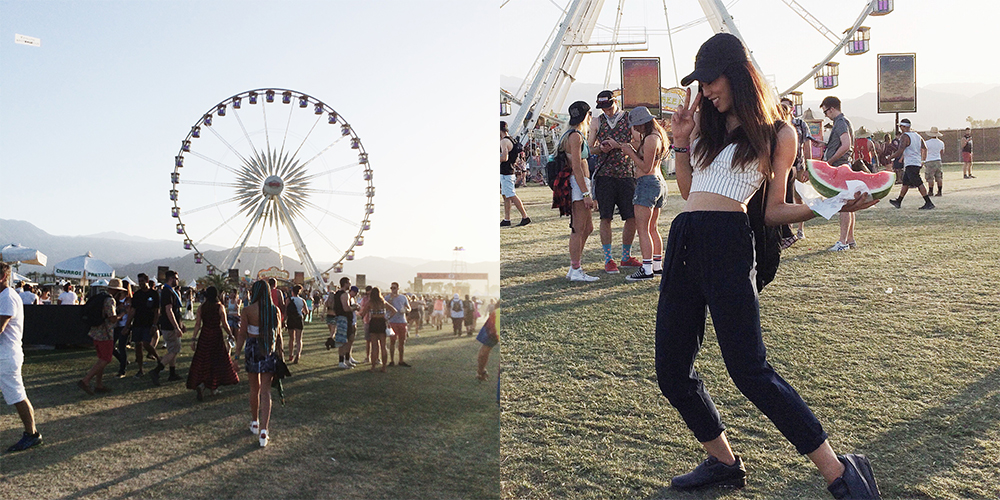 Neon Blush, Coachella Music Festival, BCBGeneration baseball cap, Style Stalker cropped top, Three of Something navy blue pant, Nike x Sacai sneakers, Style Saint lace wrap dress, Botkier bags