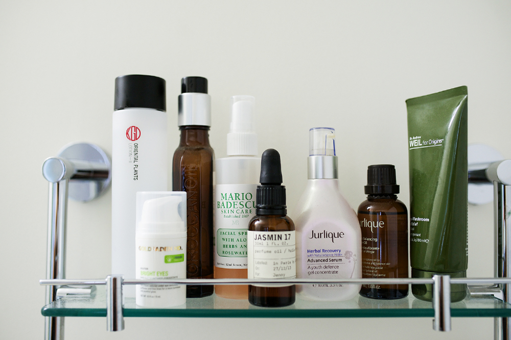 Neon Blush, skin care products, Mario Badescu rose face spray, Moroccanoil treatment oil, Koh Gen Do facial lotion, Goldfaden MD bright eyes, Le Labo Jasmin 17 fragrance oil, Jurlique Herbal Recovery serum, Jurlique Balancing Face Oil, Dr. Andrew Weil for Origins Mega-Mushroom Skin Relief