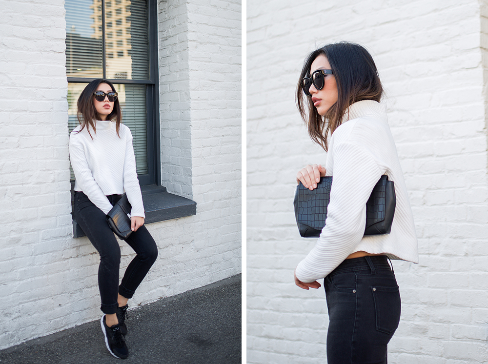 Neon Blush, funnel neck sweater, H&M white sweater, DL1961 black skinnies, Theyskens' Theory black platform heels, Rag & Bone Enfield leather clutch, Céline Audrey sunglasses, Nike Air Huaraches black and white