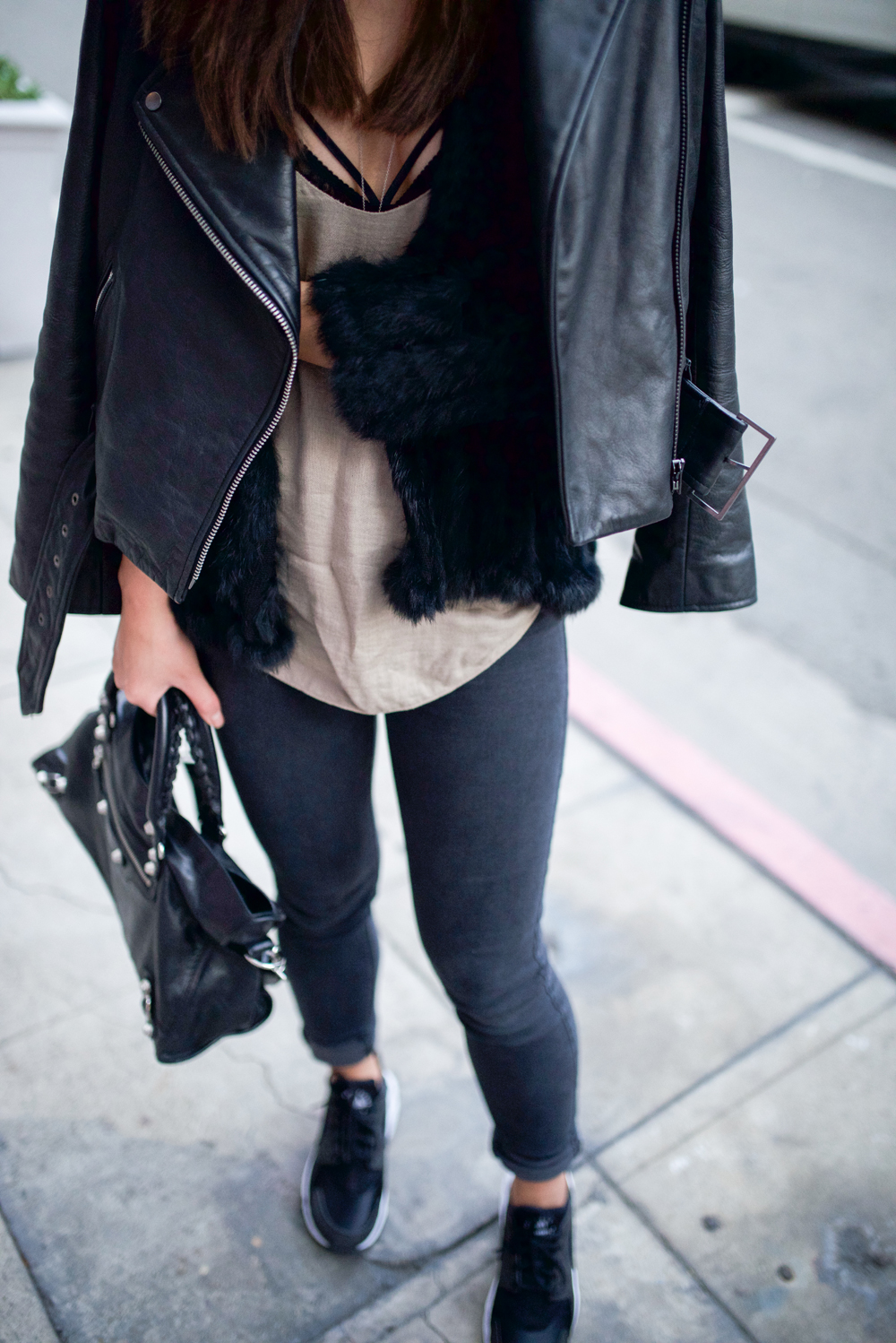 Neon Blush, Heartloom fur jacket, UO tank, Cosabella bra, dark gray denim skinnies, Nike Air Huaraches white and black sneakers, Balenciaga classic city bag, Kate Spade Saturday leather jacket