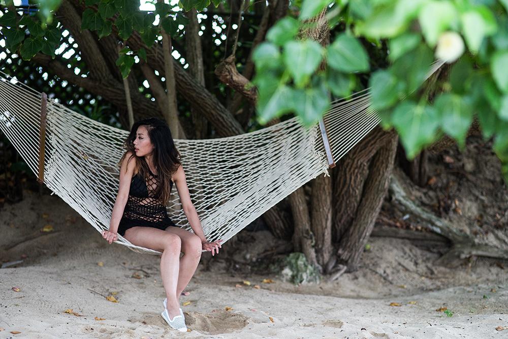 Neon Blush, Soludos, Jamaica, Ocho Rios, Pima Doll black knit slip, Skye Swimwear black bikini