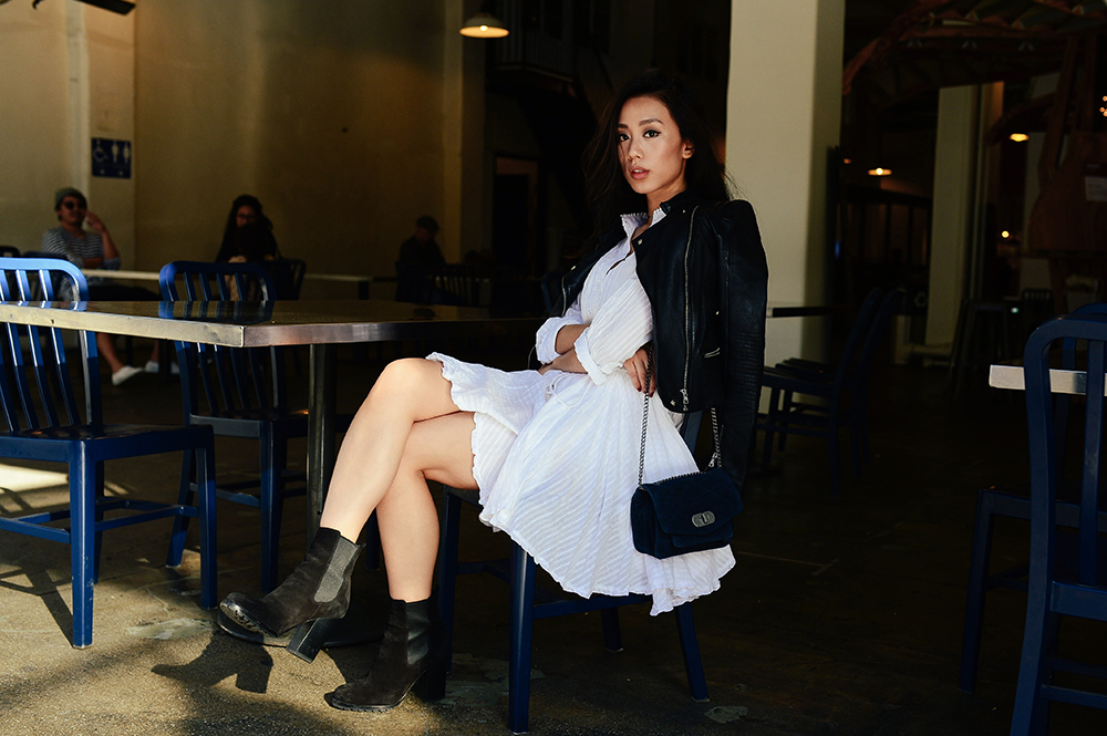 Neon Blush, Zadig et Voltaire, Zadig & Voltaire, rain white womens dress, navy quilted suede bag